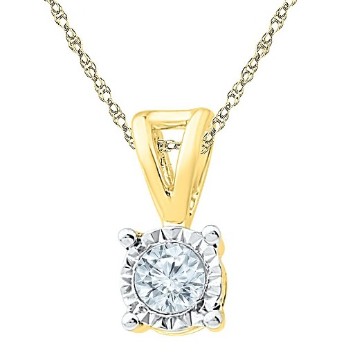 1/4 CT. T.W. White Diamond Solitaire Pendant in 10K Yellow Gold, Women's