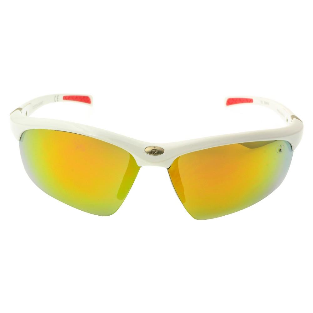 Ironman Sport Sunglasses with Semi-Rimless Orange Lens - White, Mens