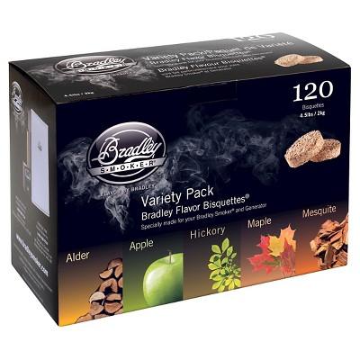 Bisquette Assortment 5 Flavor 120 Pack Smoker Box - Bradley Smoker