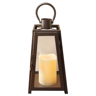 metal lantern with battery operated led candle warm black lumabase - Battery Operated Lanterns
