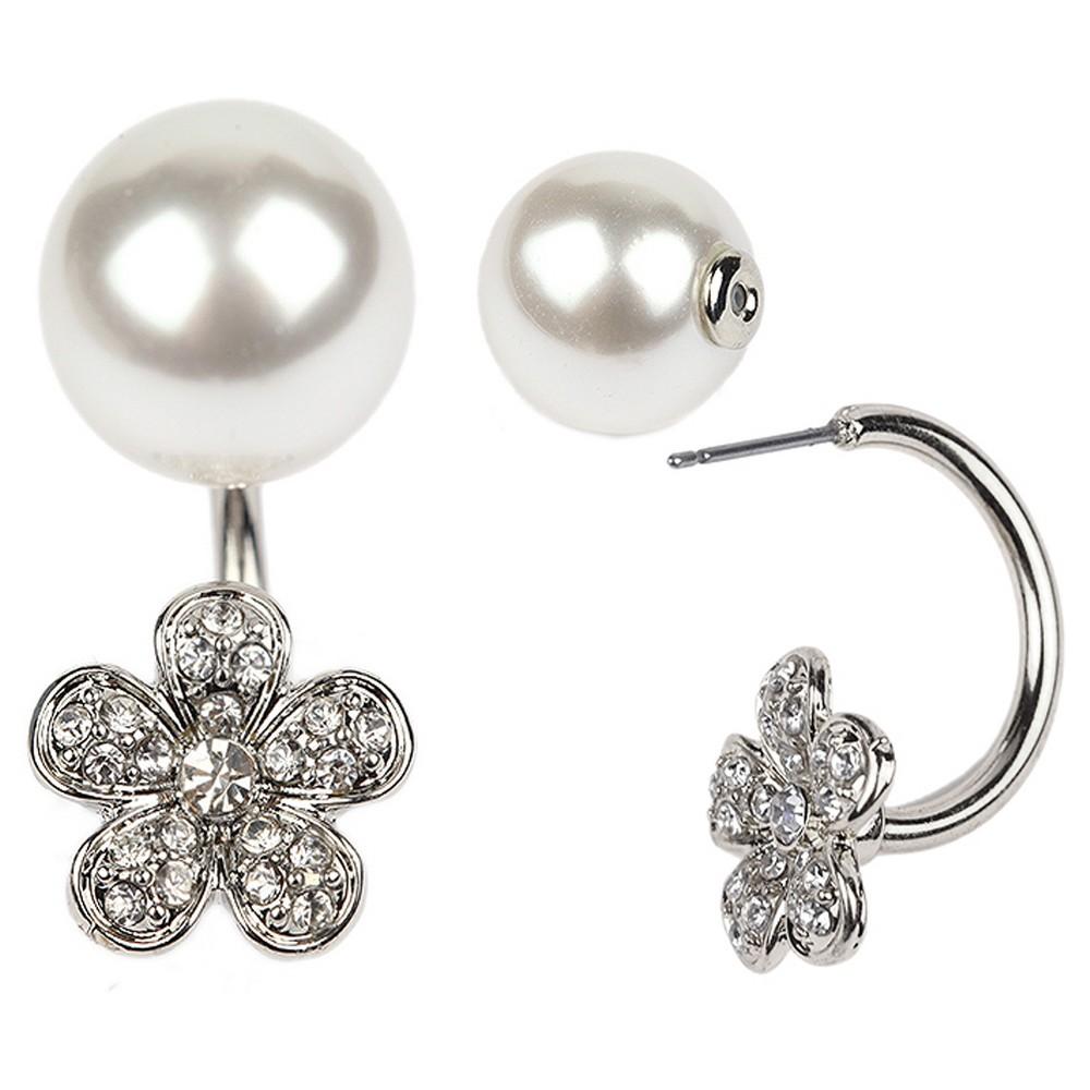 Womens Zirconite Pearl/Flower Crystal Peekaboo Earring - White