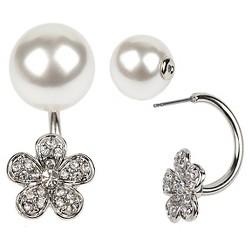 Women's Zirconite Pearl/Flower Crystal Peekaboo Earring - White