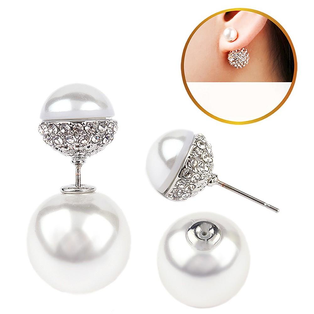 Womens Zirconite Pearl/Crystal Peekaboo Earring - White