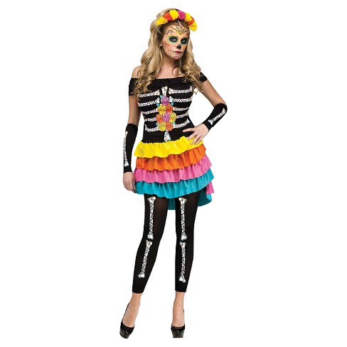 Women's Day Of the Dead Footless Costume Leggings - image 1 of 1