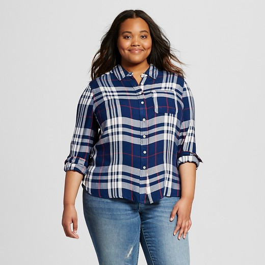 Women 39 S Plus Size Plaid Button Down Shirt Mossimo Supply