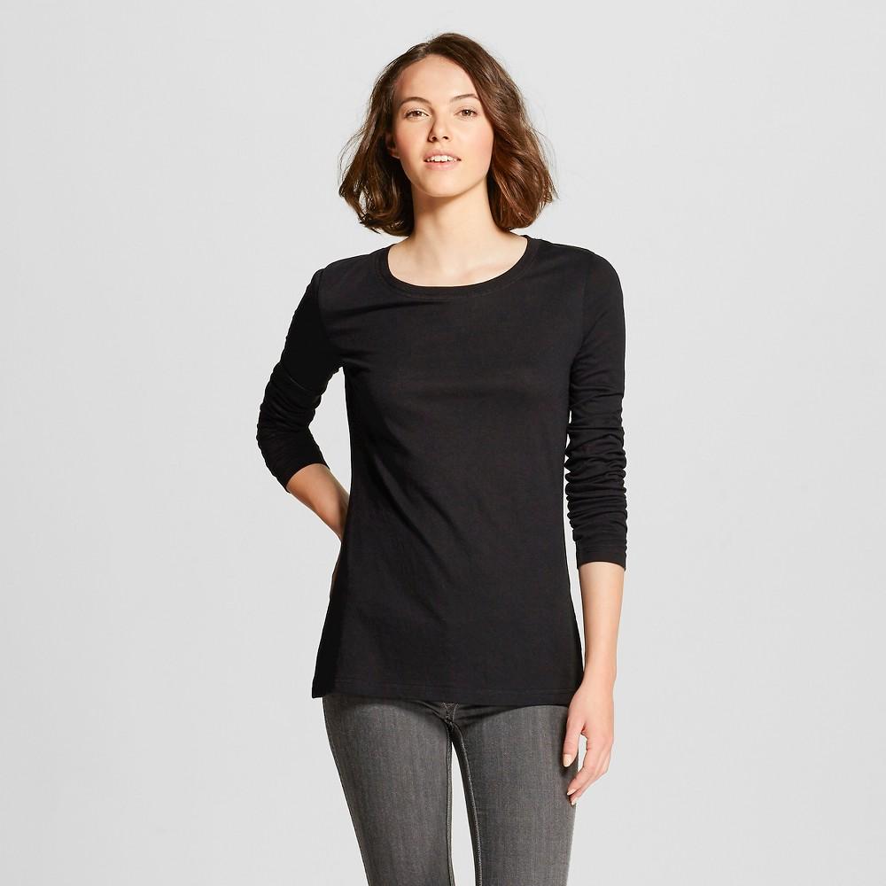 Women's Long Sleeve Crew T-Shirt - Mossimo Supply Co. (Juniors') Black Xxl