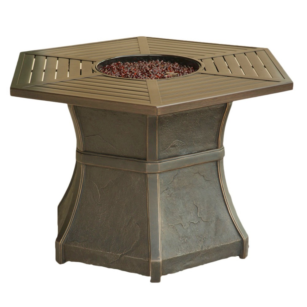 Cambridge High-Top Gas Fire Pit Table Aluminum/Brown HEX1PCFP