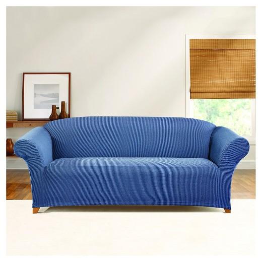 Stretch Ticking Stripe Sofa Slipcover Cadet Blue Sure