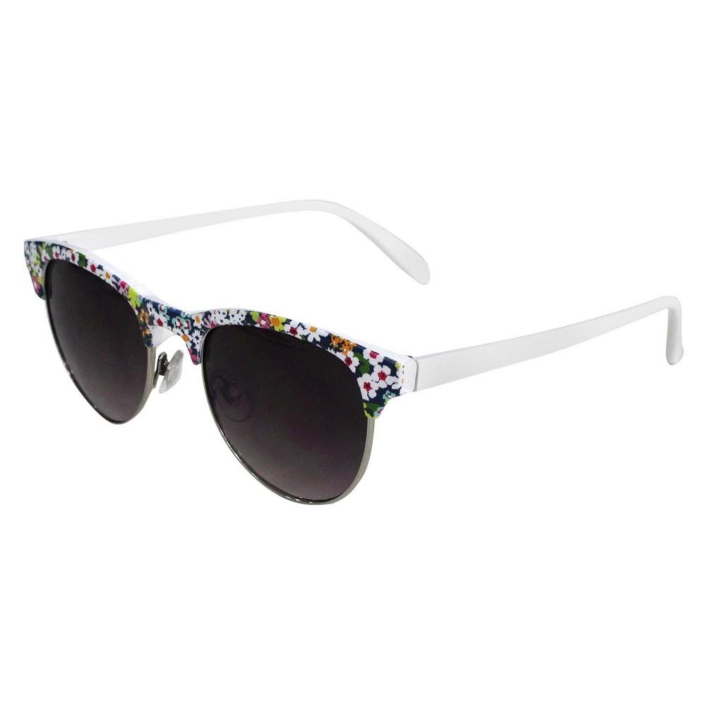 Womens Retro Sunglasses- White Floral, Multi-Colored