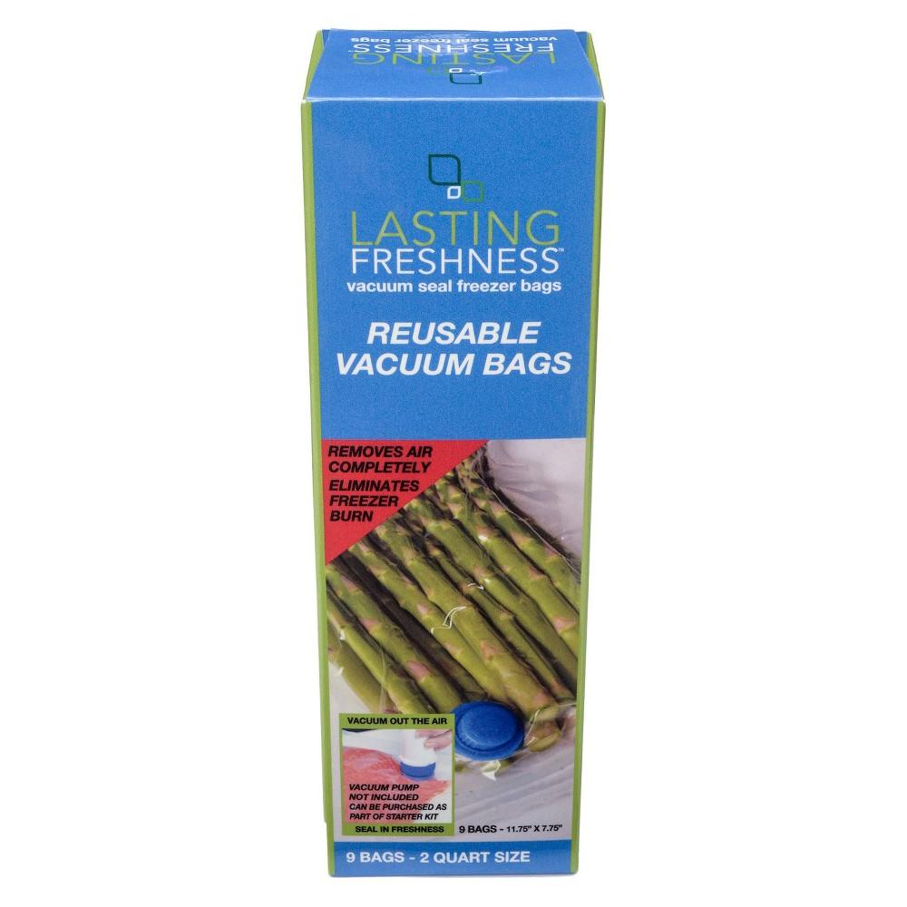 Lasting Freshness Reusable Vacuum Bags 9ct 2 Quart,  Clear