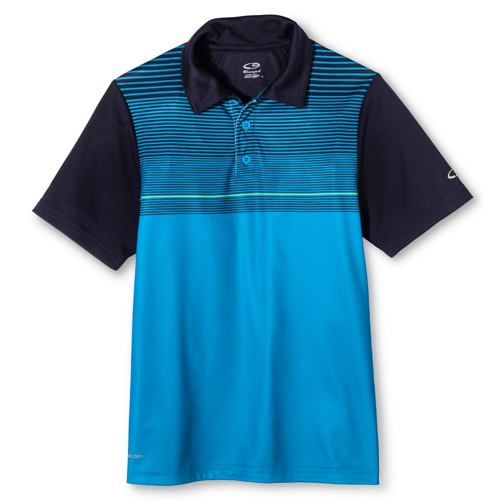 Boys Golf Polo - C9 Champion Fiji Aqua (Blue) Stripe M