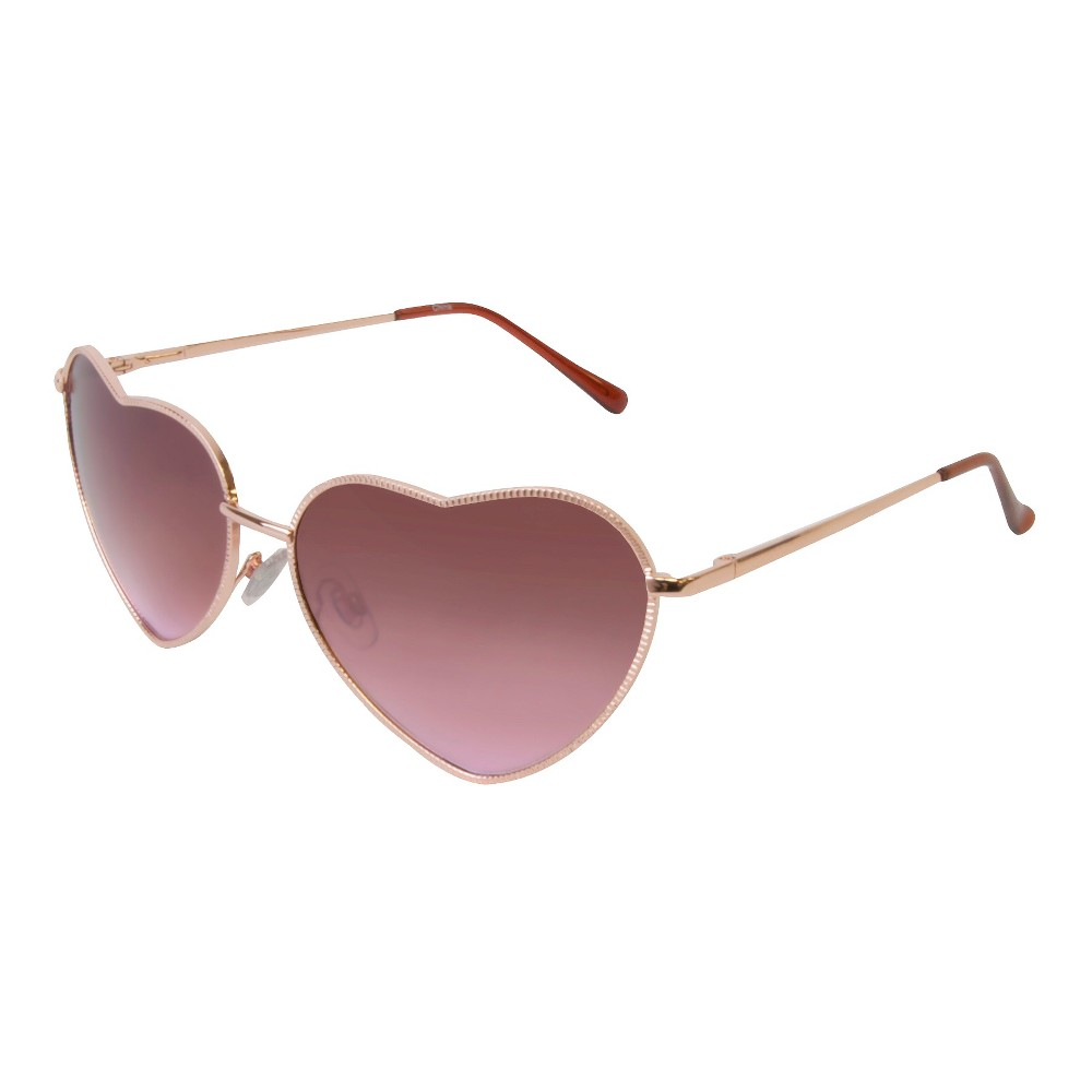 Heart Shaped Metal Sunglasses - Gold, Womens