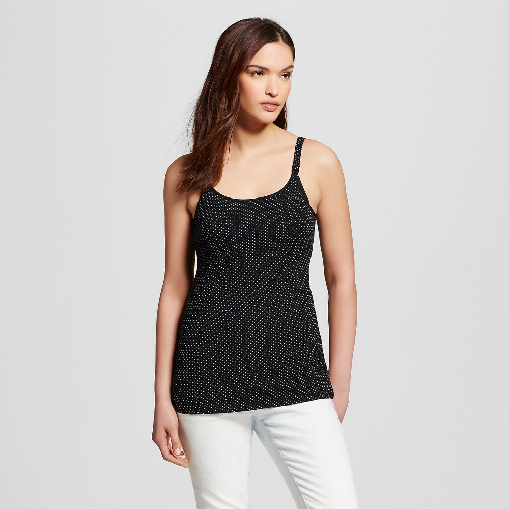 Womens Nursing Cotton Cami Black Dot Print XL