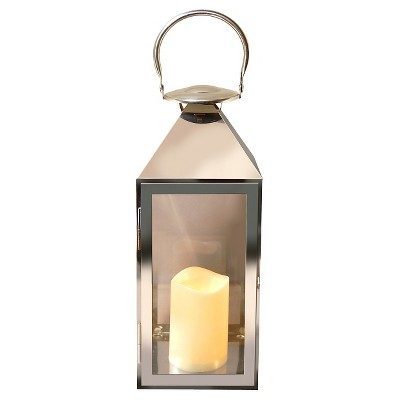 metal lantern with battery operated led candle traditional chrome lumabase - Battery Operated Lanterns