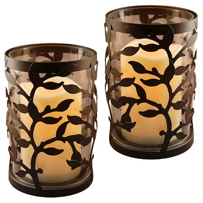 2pc Metal Lanterns with Battery Operated LED Candles Black Walnut - Lumabase®