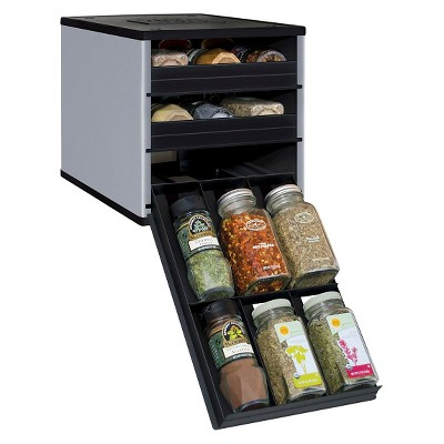 YouCopia Original SpiceStack® 18 Bottle Spice Organizer with Universal Drawers - Silver/Black