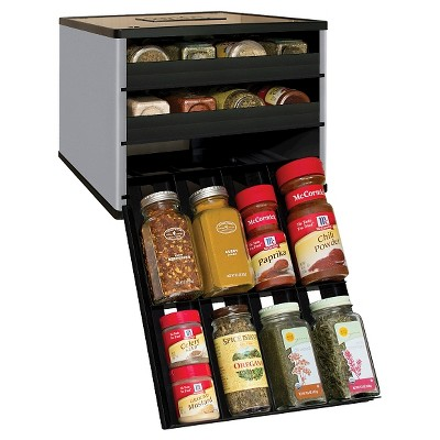 YouCopia Classic SpiceStack® 24 Bottle Spice Organizer with Universal Drawers - Silver