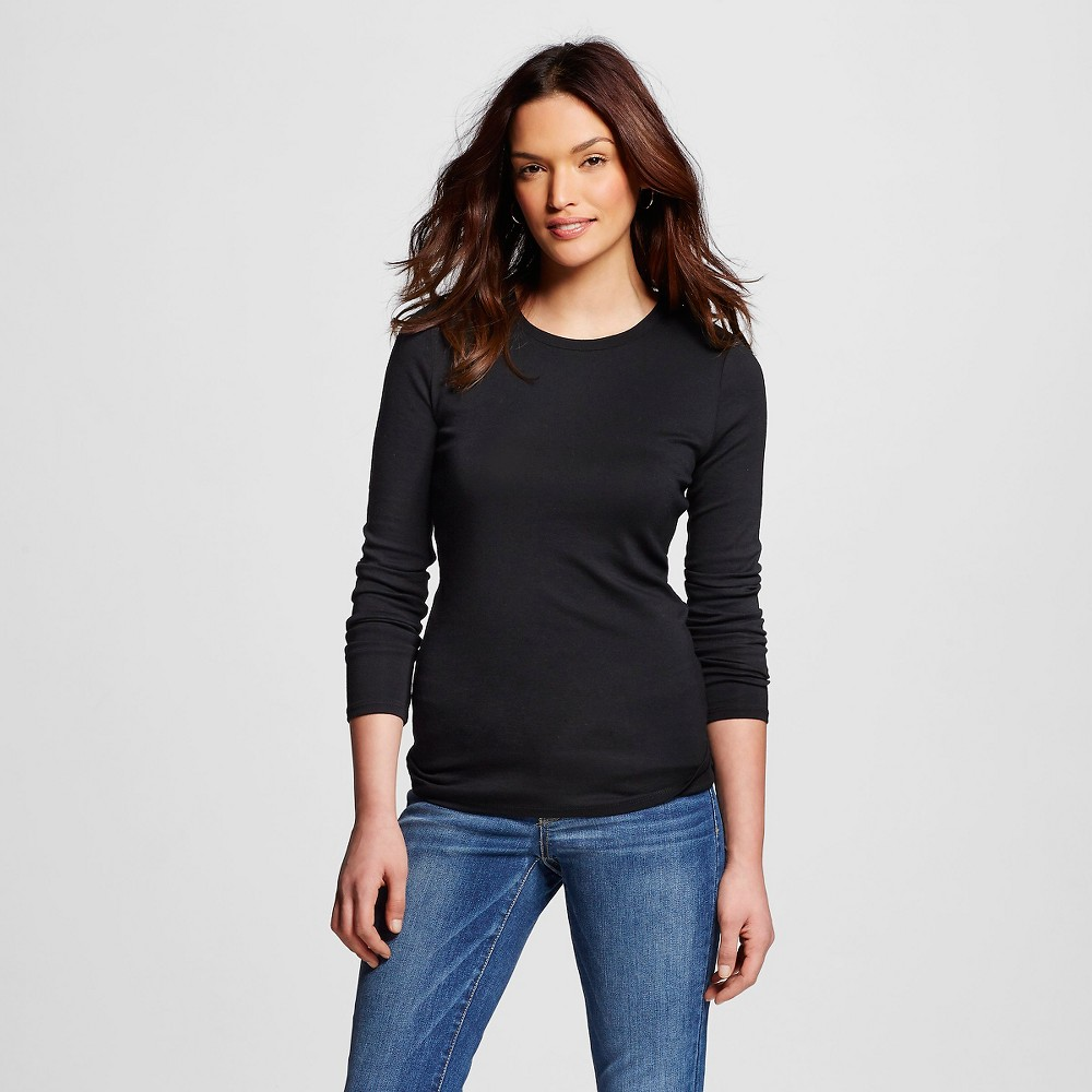 Women's Ultimate Long Sleeve Crew T-Shirt Black Xxl - Merona