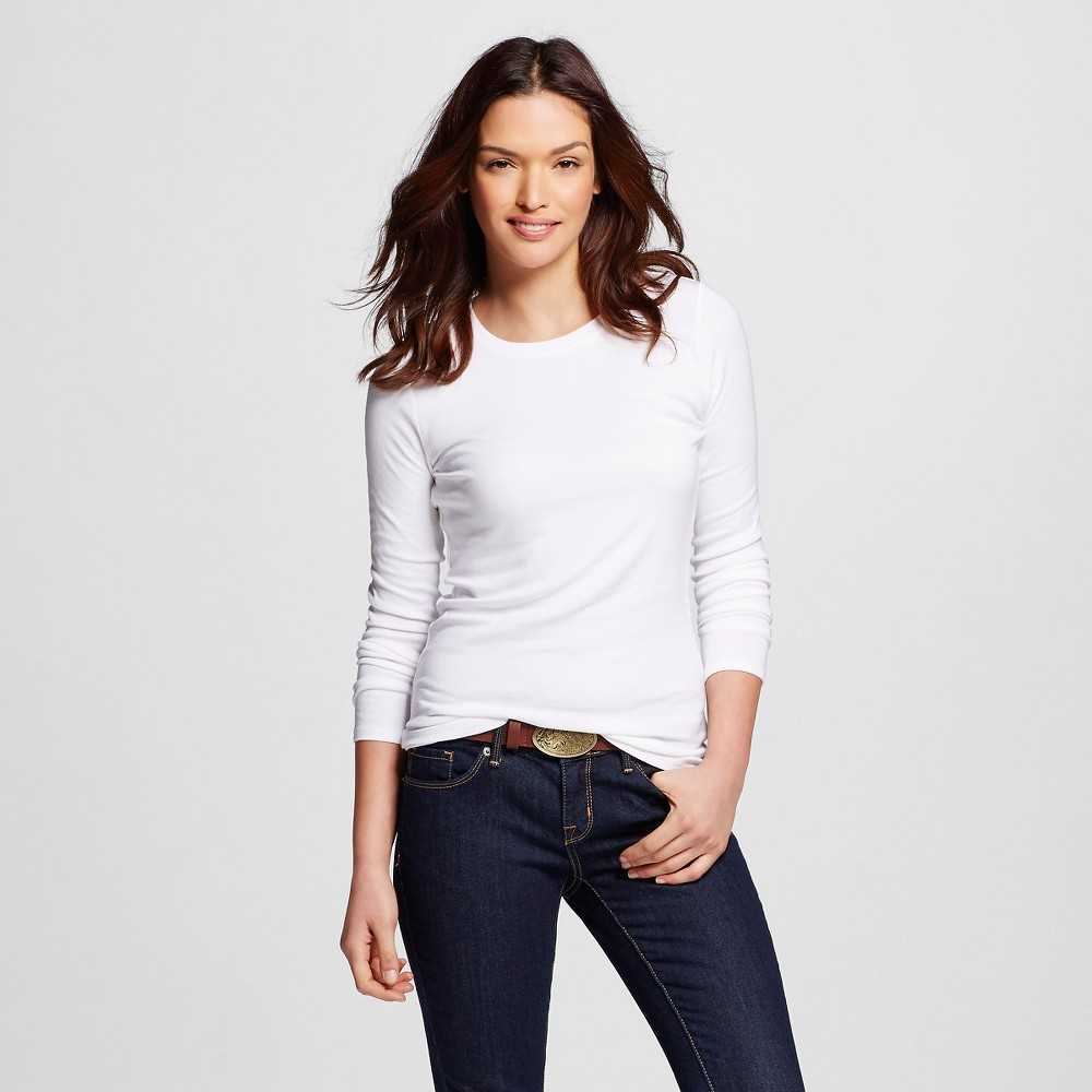 Women's Ultimate Long Sleeve Crew T-Shirt White L - Merona