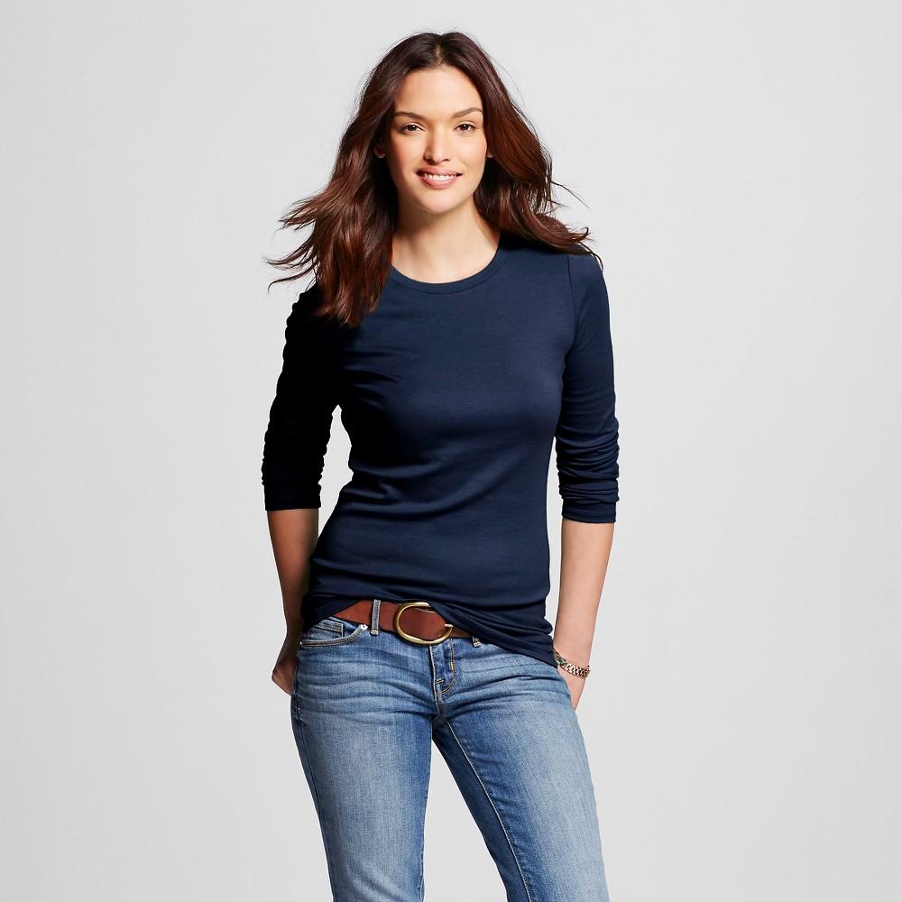 Women's Ultimate Long Sleeve Crew T-Shirt Navy (Blue) L - Merona