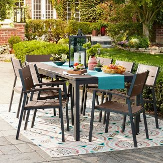 Sommer Aluminum Faux Wood Dining Chair Set Of 4