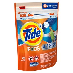 Tide PODS + Febreze 4 in 1 Odor Defense Active Fresh Scent Laundry Detergent Pacs - 26 ct
