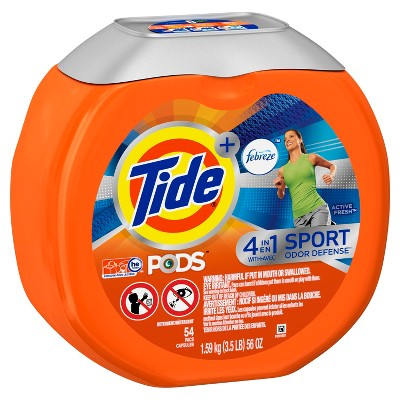 Tide PODS + Febreze 4 in 1 Odor Defense Active Fresh Scent Laundry Detergent Pacs - 54 Count