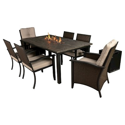 Bond Campbell 7 Piece Faux Wood Fire Patio Dining Set