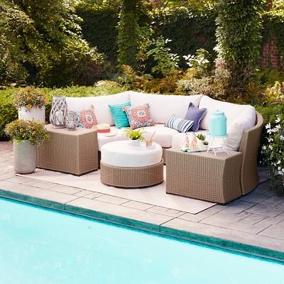premium edgewood 7pc half round sectional smith u0026 hawken - Sectional Patio Furniture