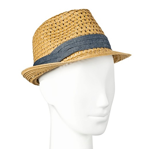 s straw hat fedora chambray band merona target