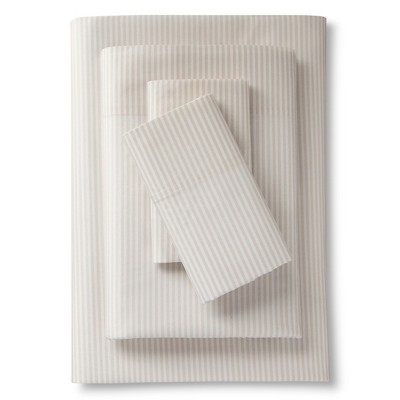Classic Percale Sheet Set (Twin)Stripe Brown 300 Thread Count - Threshold™
