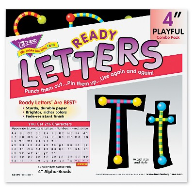 TREND Ready Letters Alpha-Beads Letter Combo Pack, Black, Multiple Colors, 4 h, 216/Set