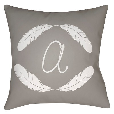 Gray Quill Monogram A Throw Pillow 16 x16  - Surya