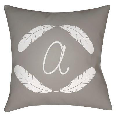 gray quill monogram throw pillow - Grey Throw Pillows