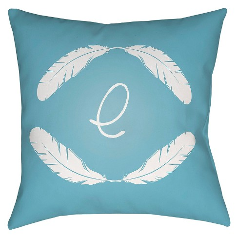 Blue Quill Monogram Throw Pillow - Surya - image 1 of 2