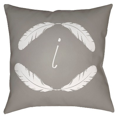 Gray Quill Monogram I Throw Pillow 16 x16  - Surya
