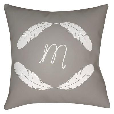 Gray Quill Monogram M Throw Pillow 16 x16  - Surya