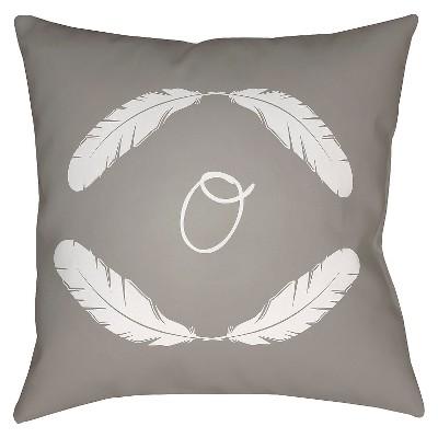 Gray Quill Monogram O Throw Pillow 16 x16  - Surya
