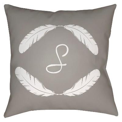 Gray Quill Monogram S Throw Pillow 16 x16  - Surya