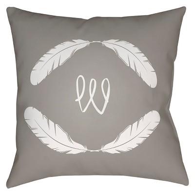 Gray Quill Monogram W Throw Pillow 16 x16  - Surya