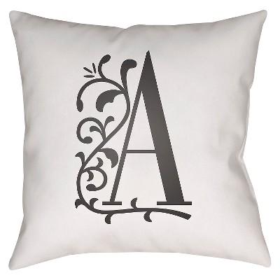 White Monogram A Throw Pillow 18 x18  - Surya