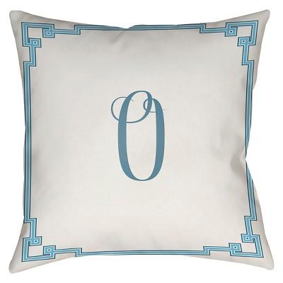 White Monogram O Throw Pillow 16 x16  - Surya