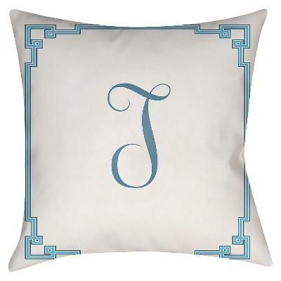 White Monogram T Throw Pillow 16 x16  - Surya