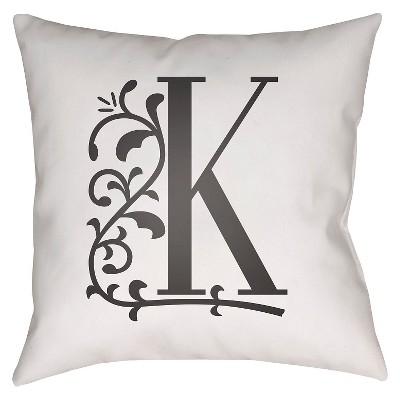 White Monogram K Throw Pillow 16 x16  - Surya