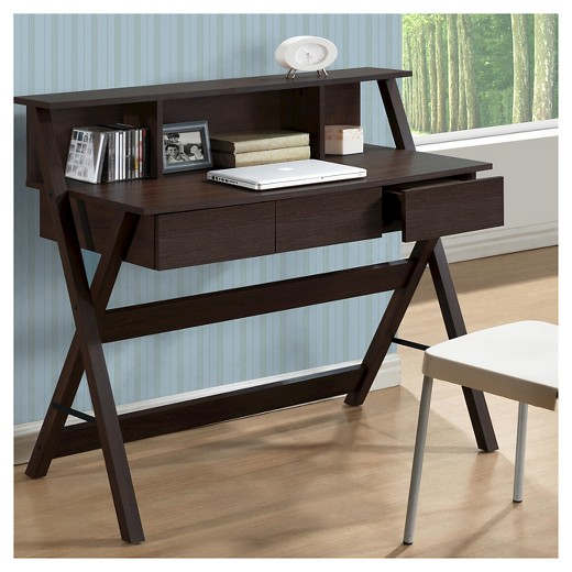Folio Three Drawer Desk With Low Profile Hutch Modern Wenge Corliving