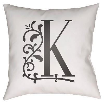 White Monogram K Throw Pillow 20 x20  - Surya