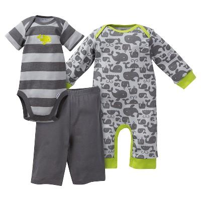 Gerber® Newborn Boys' Whale 3 Piece Coverall, Bodysuit & Pants Set - 3-6M Gray/Stripe