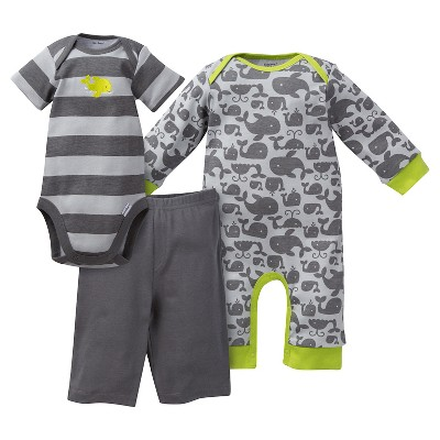 Gerber® Baby Boys' Whale 3 Piece Coverall, Bodysuit & Pants Set - 6-9M Gray/Stripe