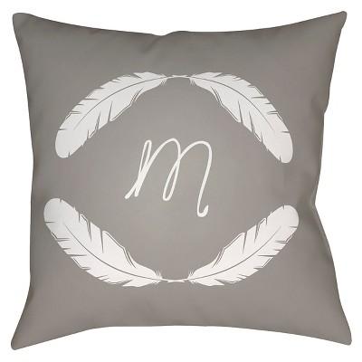 Gray Quill Monogram M Throw Pillow 20 x20  - Surya