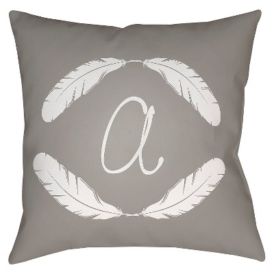 Gray Quill Monogram A Throw Pillow 18 x18  - Surya